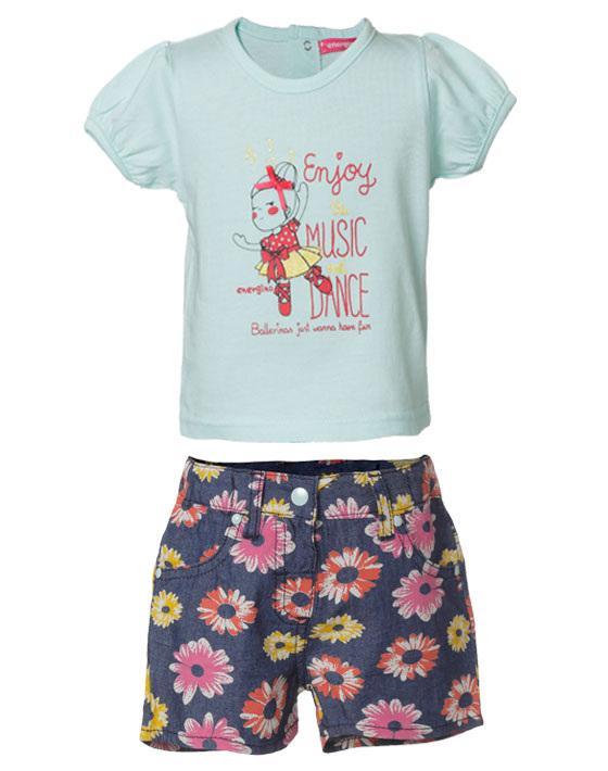 e7cf29f4375 Σετ σορτς τζην με λουλούδια και μπλούζα τύπωμα enjoy music dance ...