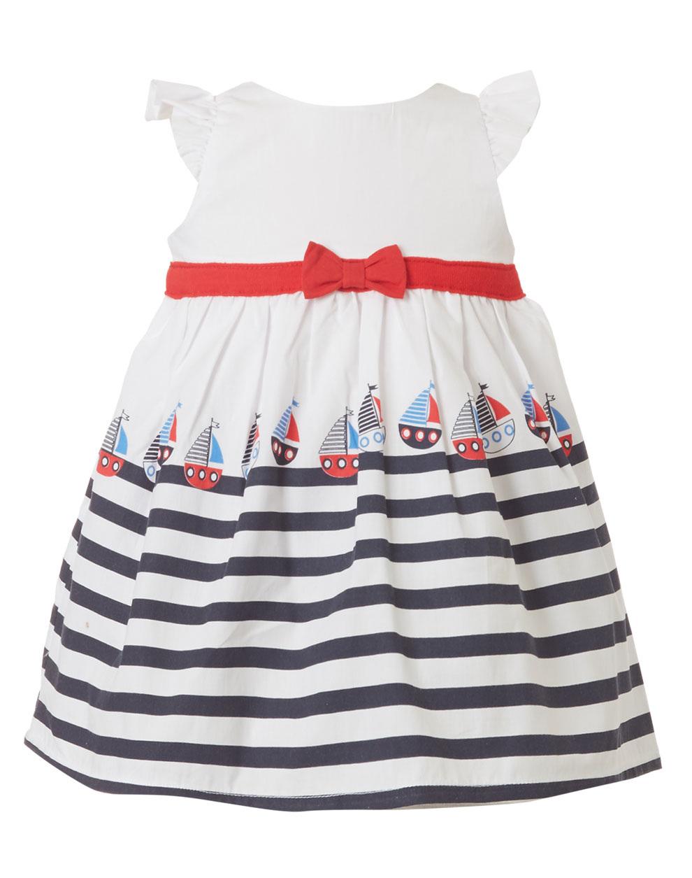 a9c5486c517 Φόρεμα με ριγέ λεπτομέρειες και διακοσμητικό φιόγκο στη μέση - σταθερό  ύφασμα ποπλίνα